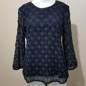 Ann Taylor Crochet Overlay Long Sleeve Blouse